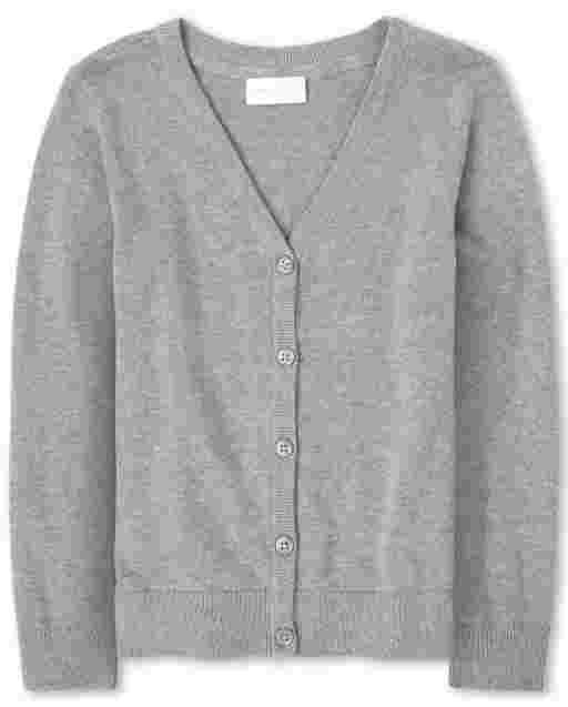 Girls Uniform Long Sleeve V Neck Cardigan