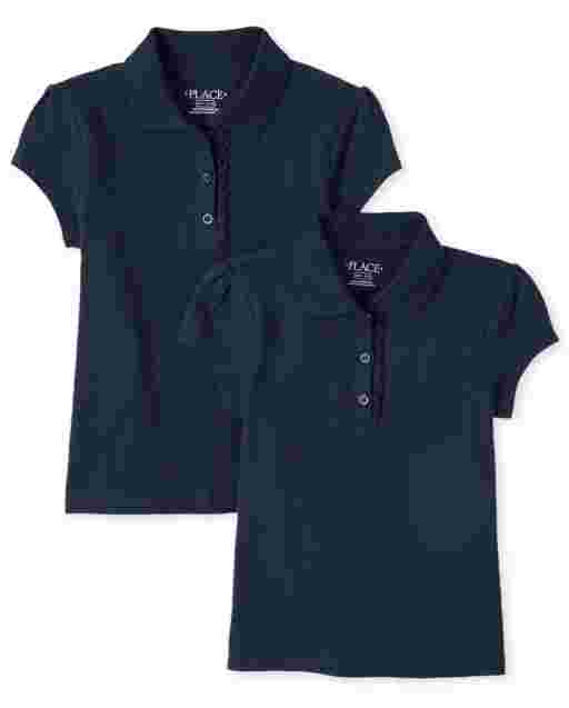 Girls Uniform Short Sleeve Ruffle Pique Polo 2-Pack