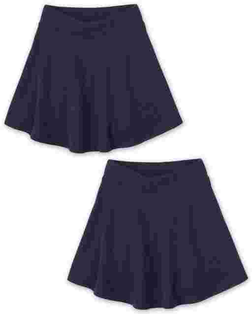 Girls Uniform Active French Terry Knit Skort 2-Pack