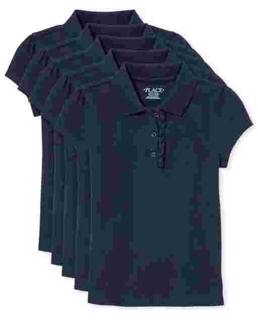 Girls Uniform Short Sleeve Ruffle Pique Polo 5-Pack