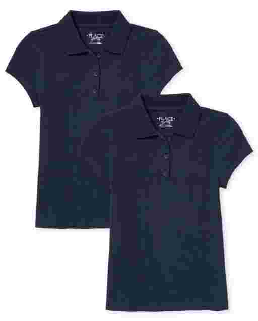 Girls Uniform Short Sleeve Stain Resistant Pique Polo 2-Pack