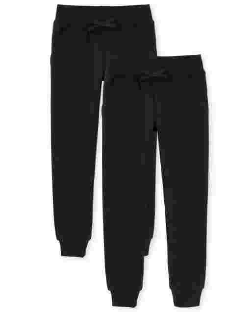 Girls Uniform Fleece Jogger Pants 2-Pack