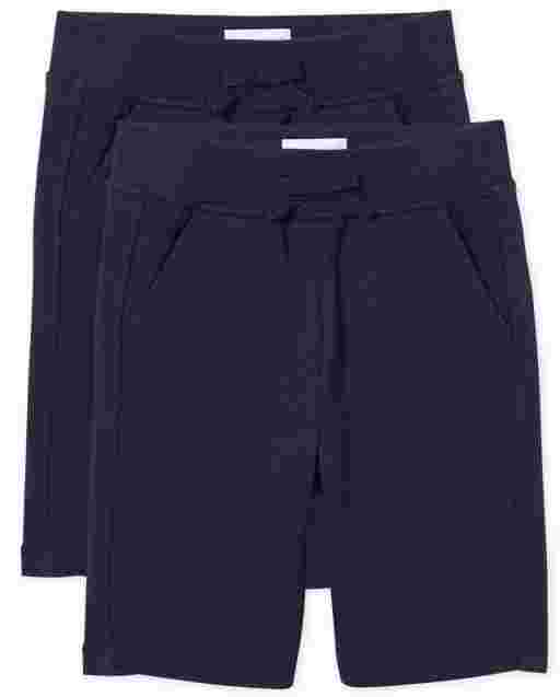 Girls Uniform Active French Terry Knit Shorts 2-Pack