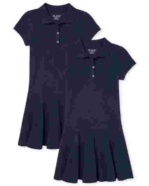 Girls Uniform Short Sleeve Pique Polo Dress 2-Pack