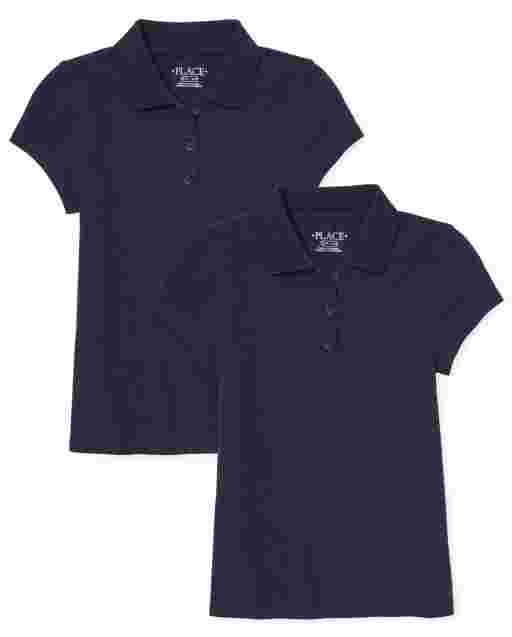 Girls Uniform Short Sleeve Pique Polo 2-Pack