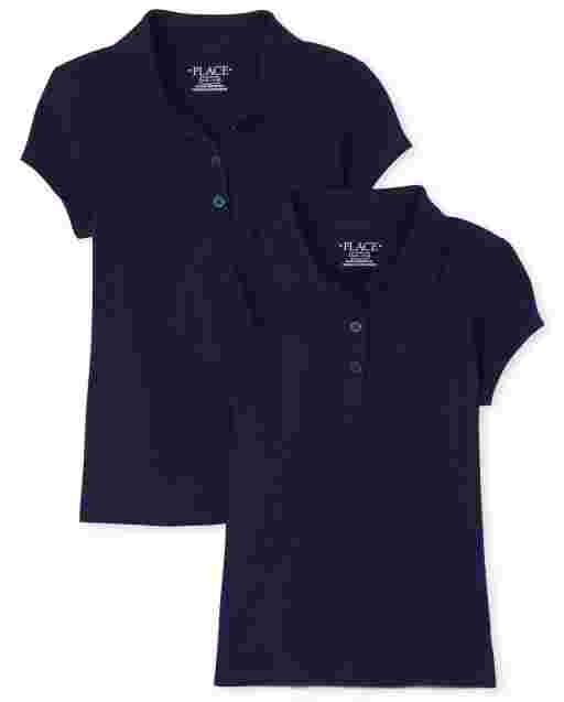 Girls Uniform Short Sleeve Soft Jersey Polo 2-Pack