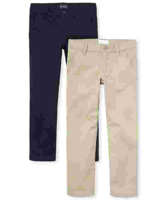 Girls Uniform Woven Skinny Chino Pants 2-Pack