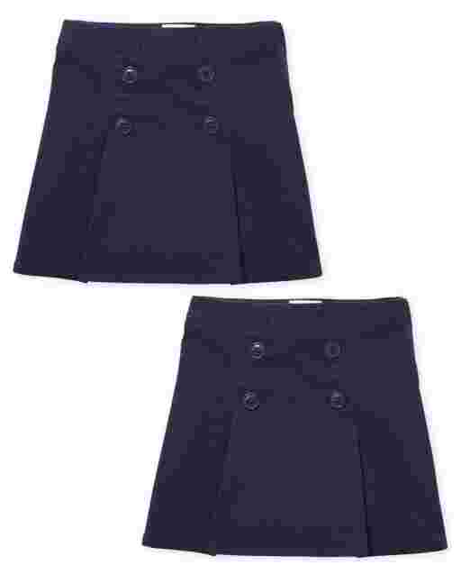 Girls Uniform Woven Button Skort 2-Pack