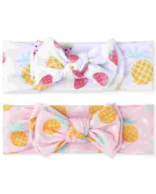 Baby Girls Strawberry And Pineapple Print Bow Headwrap 2-Pack