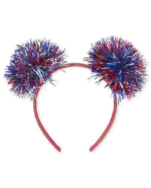 Girls Americana Glitter Tinsel Pom Pom Headband