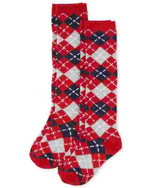 Girls Argyle Knee Socks 2-Pack