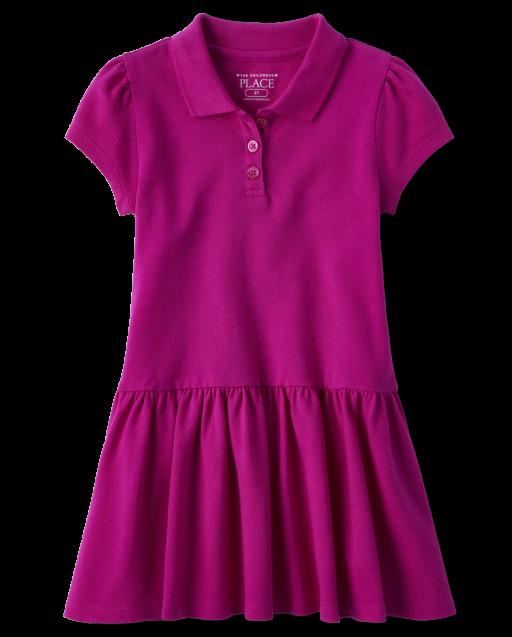 Toddler Girls Uniform Short Sleeve Ruffle Pique Polo Dress