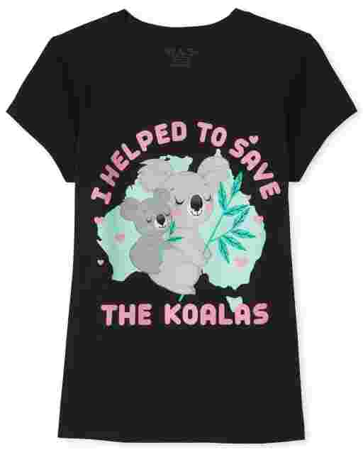 Girls Short Sleeve Glitter 'I Helped To Save The Koalas' Koala Graphic Tee