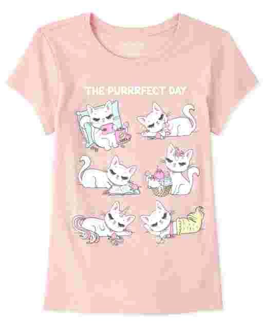 Girls Short Sleeve Glitter 'The Purrfect Day' Cat Graphic Tee