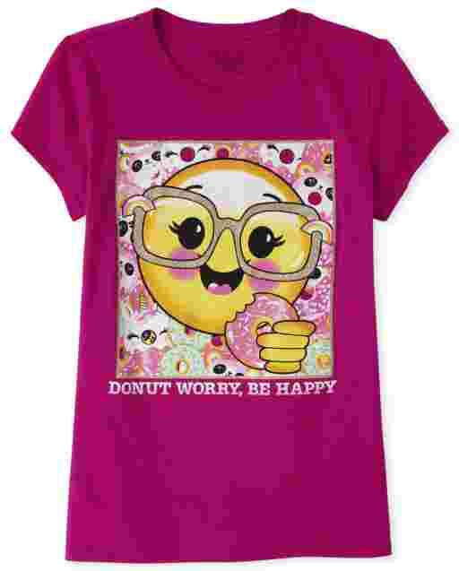 Girls Short Sleeve Glitter Emoji Donut Graphic Tee