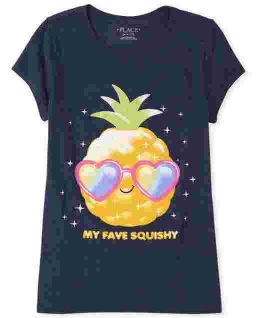 Girls Short Sleeve Glitter 'My Fave Squishy' Pineapple Graphic Tee