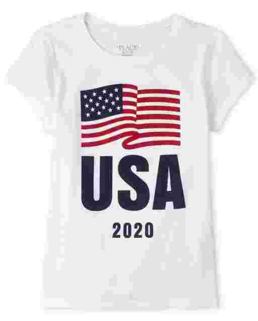 Girls Matching Family Americana Short Sleeve Olympics 'USA 2020' Flag Graphic Tee