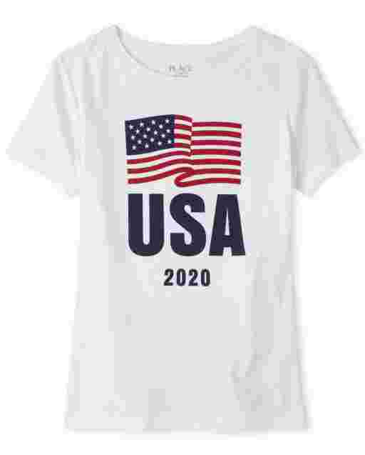Womens Matching Family Americana Short Sleeve Olympics 'USA 2020' Flag Graphic Tee