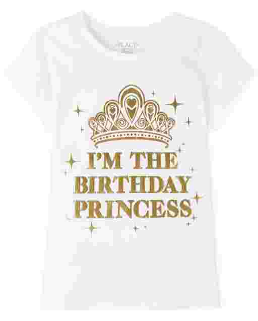 Girls Mommy And Me Short Sleeve Foil 'I'm The Birthday Princess' Graphic Tee