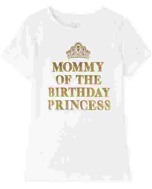 Womens Mommy And Me Short Sleeve Foil 'Mommy Of The Birthday Princess' Matching Graphic Tee