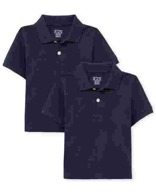 Baby And Toddler Boys Uniform Short Sleeve Pique Polo 2-Pack