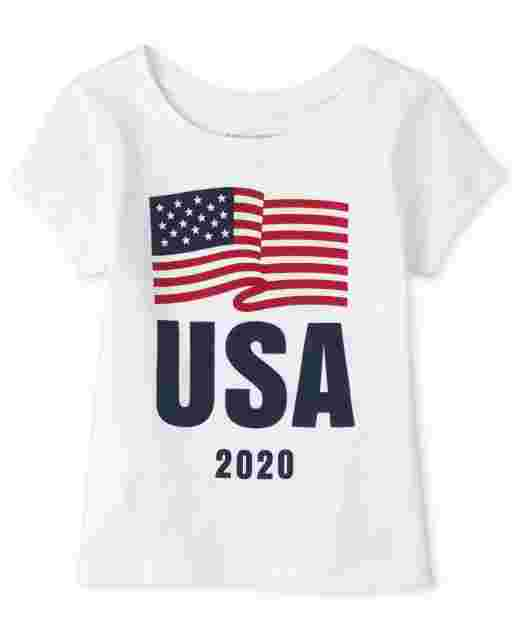 Baby And Toddler Girls Matching Family Americana Short Sleeve Olympics 'USA 2020' Flag Graphic Tee