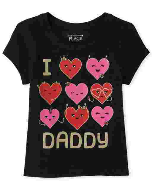 Baby And Toddler Girls Short Sleeve Glitter 'I Love Daddy' Heart Graphic Tee