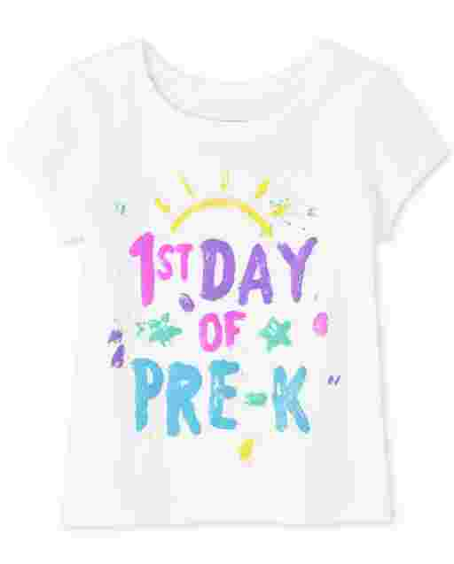 Toddler Girls Short Sleeve '1st Day of Pre-K' Graphic Tee