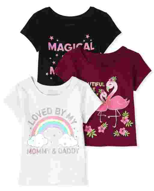 Baby And Toddler Girls Short Sleeve Glitter Mommy And Daddy Graphic Tee 3-Pack