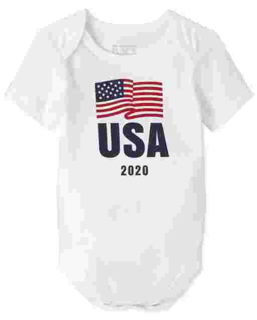 Unisex Baby Matching Family Short Sleeve Olympics 'USA 2020' Flag Graphic Bodysuit