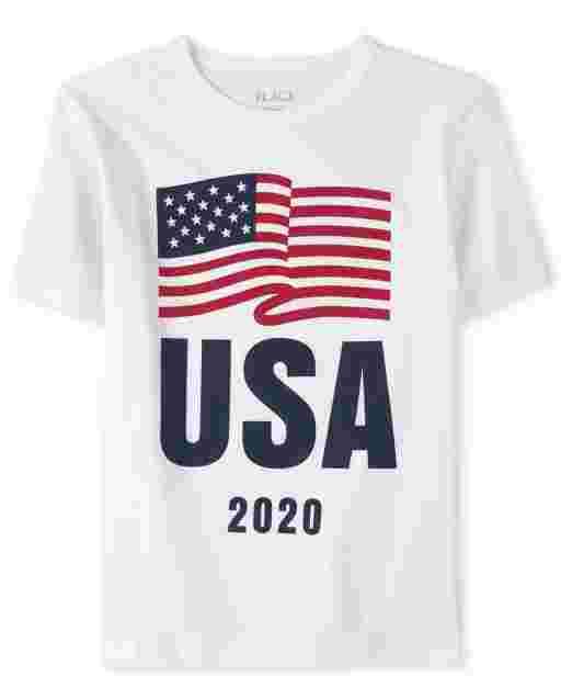 Boys Matching Family Americana Short Sleeve Olympics 'USA 2020' Flag Graphic Tee