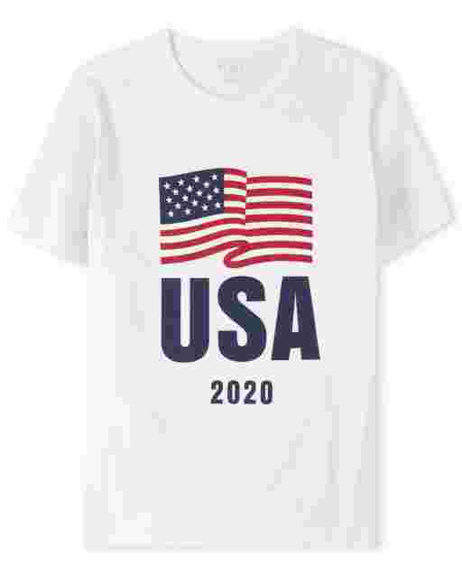 Mens Matching Family Americana Short Sleeve Olympics 'USA 2020' Flag Graphic Tee