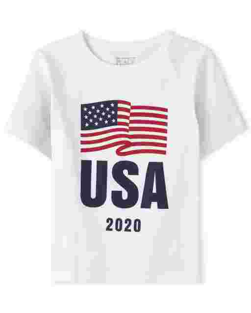 Baby And Toddler Boys Matching Family Americana Short Sleeve Olympics 'USA 2020' Flag Graphic Tee