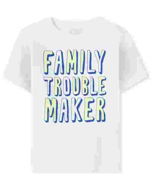 Baby And Toddler Boys Short Sleeve 'Family Trouble Maker' Graphic Tee