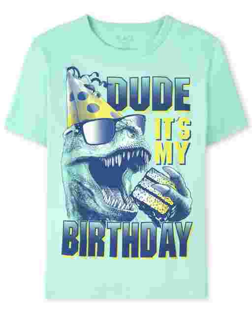 Boys Short Sleeve 'Dude It's My Birthday' Dino Graphic Tee