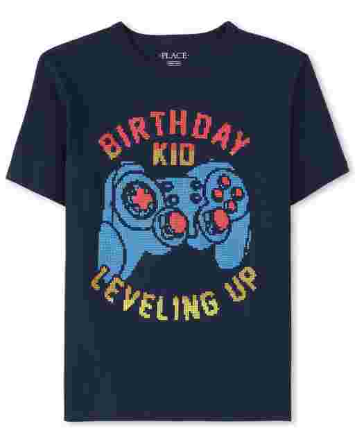 Boys Short Sleeve 'Birthday Kid Leveling Up' Video Game Graphic Tee