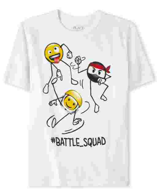 Boys Short Sleeve 'Hashtag Battle Squad' Swirl Ninja Emoji Graphic Tee