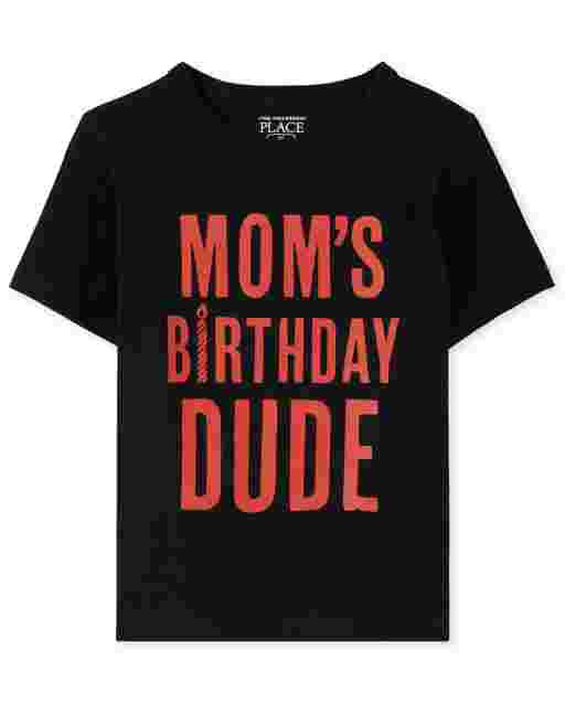 Baby And Toddler Boys Short Sleeve 'Mom's Birthday Dude' Graphic Tee