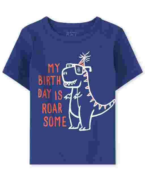 Baby And Toddler Boys Short Sleeve 'My Birthday Is Roar Some' Dino Graphic Tee