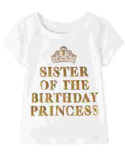 Baby And Toddler Girls Short Sleeve 'Birthday Sister' Graphic Tee