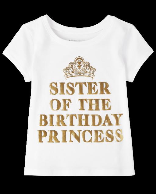 Camiseta estampada ' cumpleaños hermana ' manga corta para bebés y niñas pequeñas