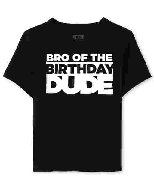 Baby And Toddler Boys Matching Family Short Sleeve 'Bro Of The Birthday Dude' Graphic Tee