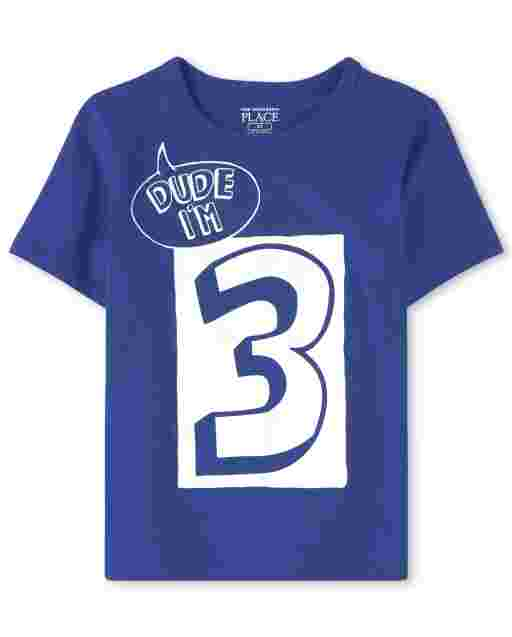 Baby And Toddler Boys Short Sleeve 'Dude I'm 3' Graphic Tee