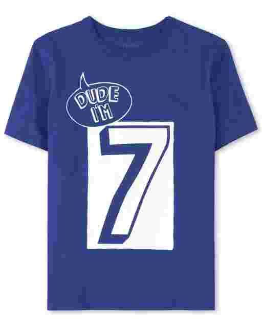 Boys Short Sleeve Birthday 'Dude I'm 7' Graphic Tee