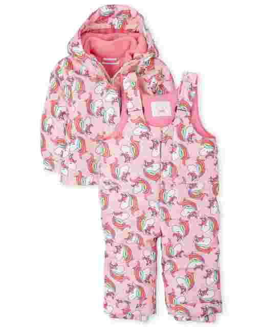 Toddler Girls Unicorn 3 In 1 Jacket And Snow Overalls Set