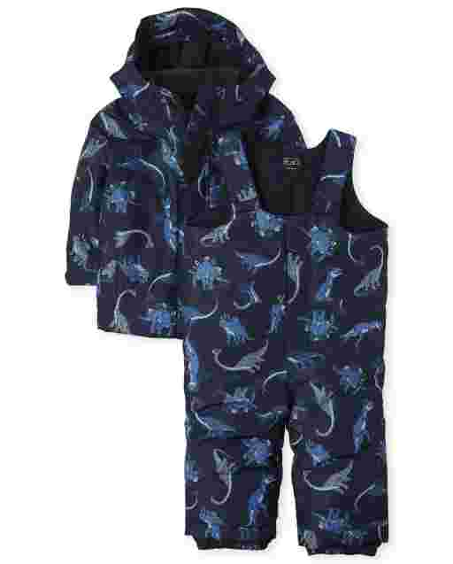 Toddler Boys Dino 3 In 1 Jacket And Snow Overalls Set