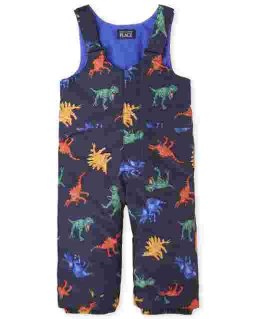 Toddler Boys Print Snow Overalls