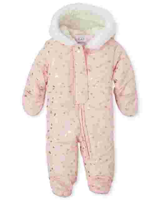 Baby Girls Long Sleeve Print Faux Fur Hooded Snowsuit