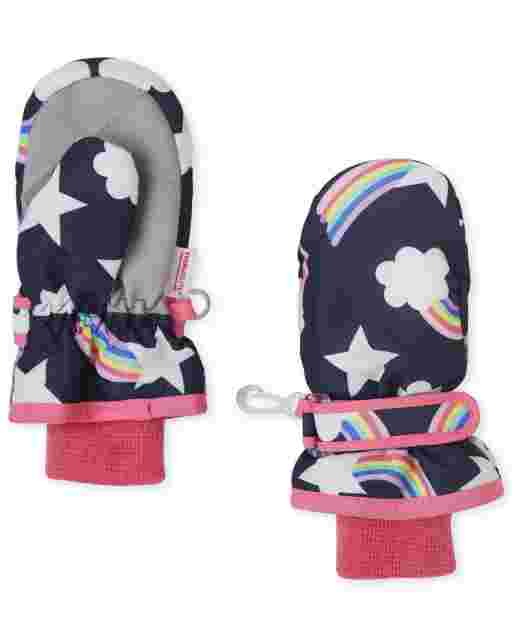 Toddler Girls Rainbow Ski Mittens
