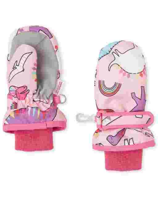Toddler Girls Dino Ski Mittens
